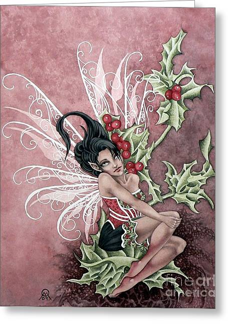 Holly Berry Faery Greeting Card by Ora  Moon