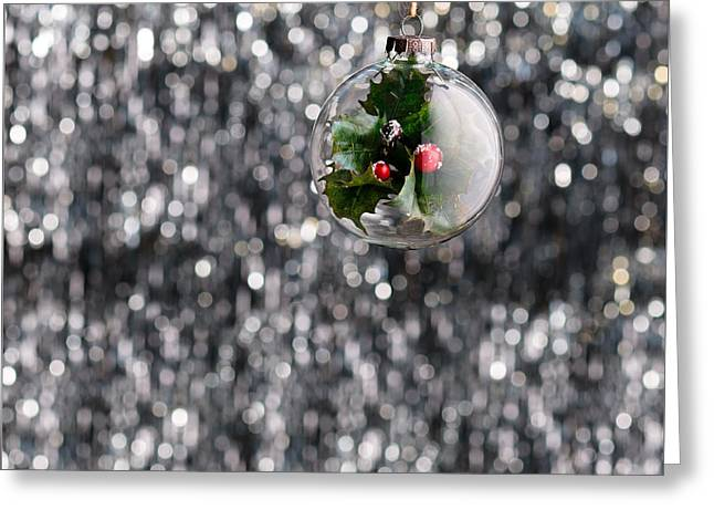 Greeting Card featuring the photograph Holly Christmas Bauble  by Ulrich Schade