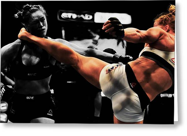 Holly Holm And Ronda Rousey 1a Greeting Card by Brian Reaves
