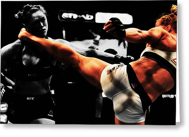 Holly Holm And Ronda Rousey 1b Greeting Card by Brian Reaves