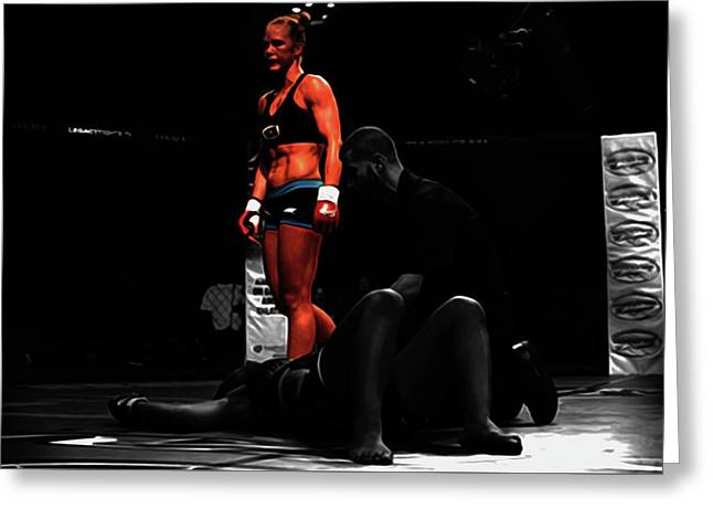 Holly Holm Another One Down Greeting Card by Brian Reaves