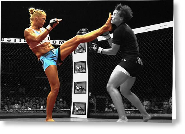 Holly Holm Kicking Jan Finney Greeting Card by Brian Reaves