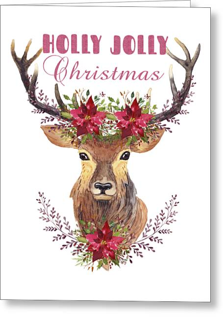 Greeting Card featuring the painting Holly Jolly Christmas Watercolor Deer Head Poinsettia Flowers by Georgeta Blanaru