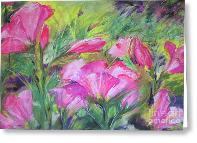 Greeting Card featuring the painting Hollyhock Breeze by Susan Herbst