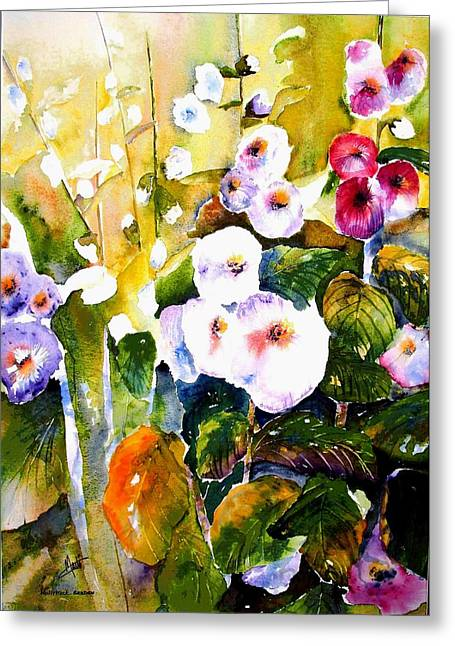 Greeting Card featuring the painting Hollyhock Garden 1 by Marti Green