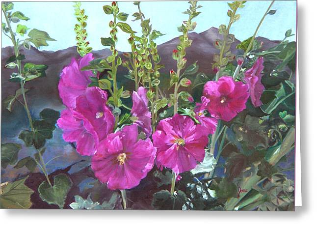 Hollyhock Necklace Greeting Card