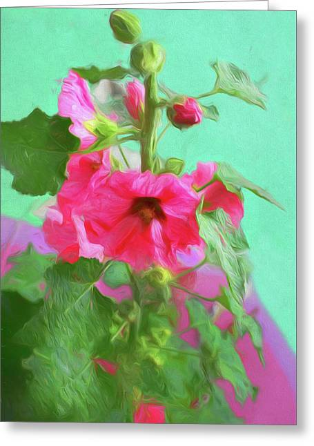 Greeting Card featuring the photograph Hollyhocks - 2  by Nikolyn McDonald