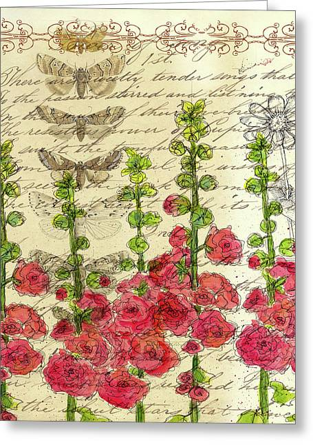 Greeting Card featuring the drawing Hollyhocks And Butterflies  by Cathie Richardson