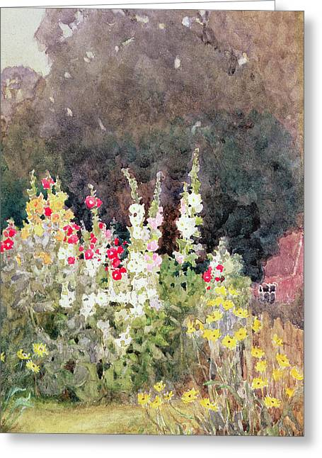 Hollyhocks Greeting Card by Helen Allingham