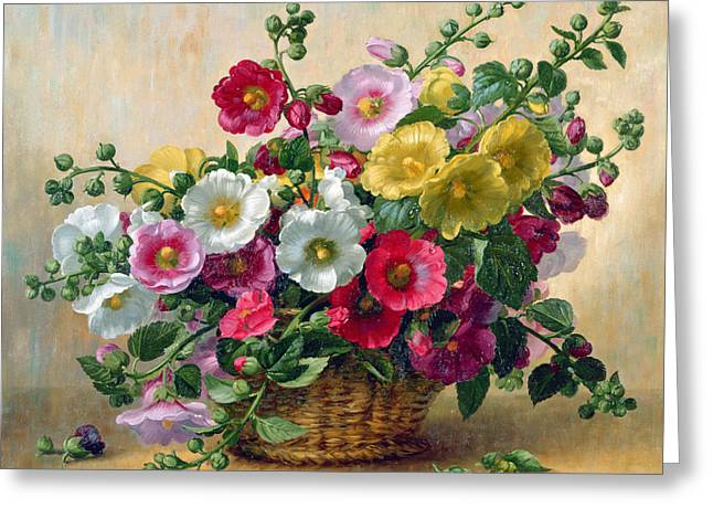 Hollyhocks In A Basket Greeting Card by Albert Williams