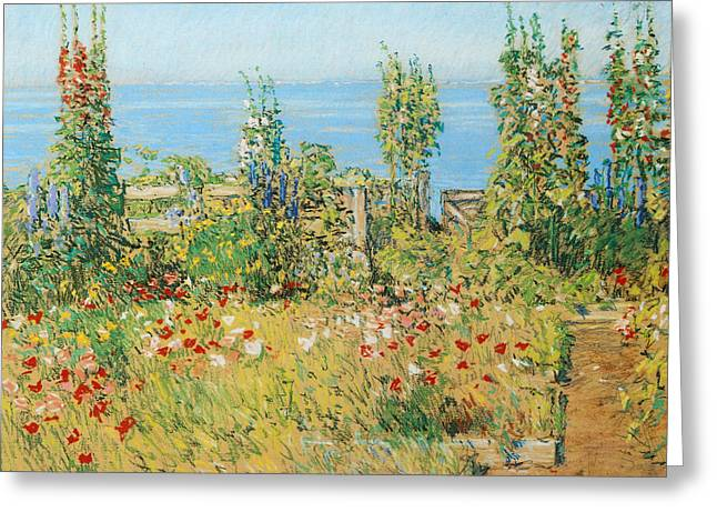 Hollyhocks Isles Of Shoals Greeting Card by Childe Hassam