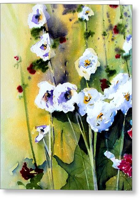 Greeting Card featuring the painting Hollyhocks by Marti Green