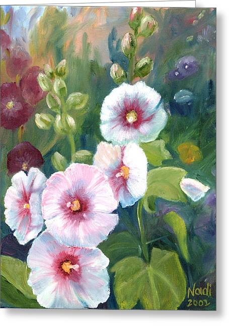 Greeting Card featuring the painting Hollyhocks by Renate Nadi Wesley