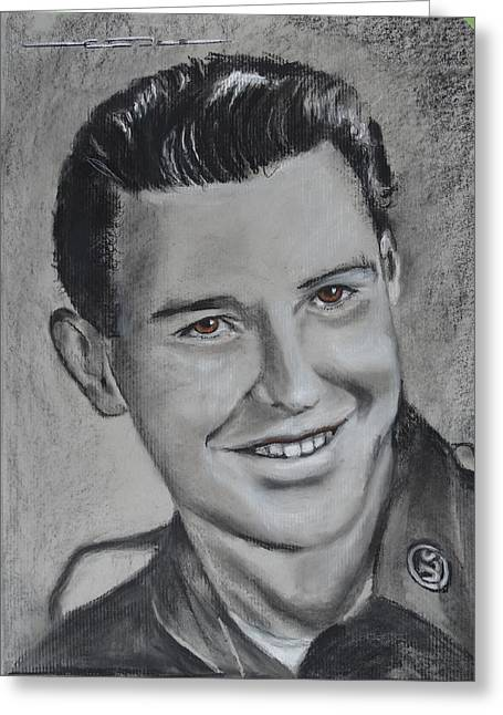 Greeting Card featuring the drawing Duane 'red' Loban by Eric Dee