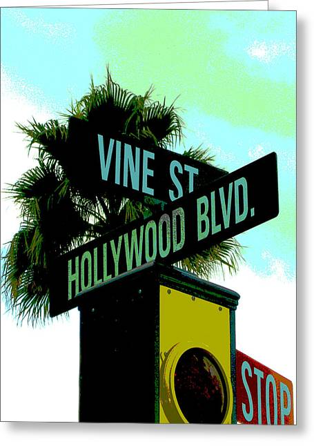 Hollywood And Vine Greeting Card by Audrey Venute