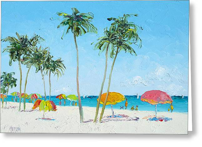 Hollywood Beach Florida And Coconut Palms Greeting Card by Jan Matson