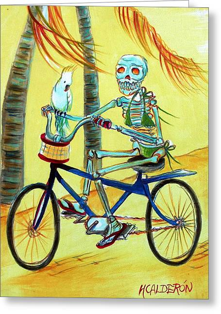 Hollywood Bicycle Woman Greeting Card