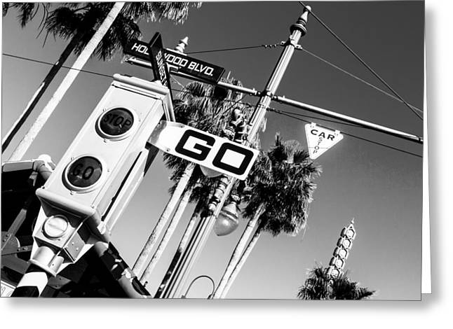 Hollywood Blvd Bw Greeting Card
