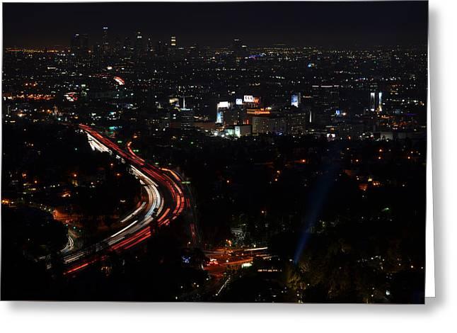 Hollywood Bowl Overlook At Night Greeting Card