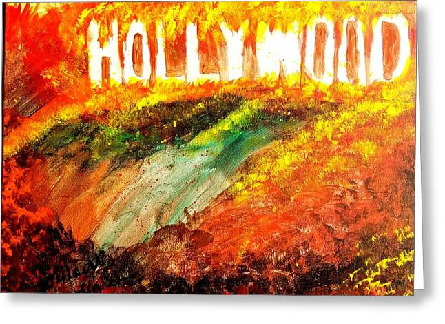 Hollywood Burning Greeting Card