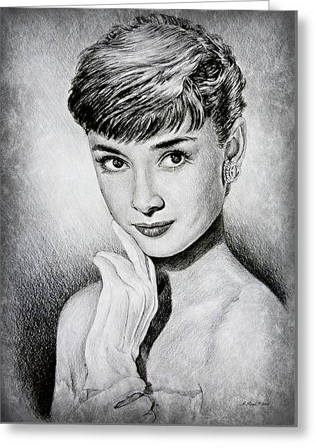 Hollywood Greats Audrey Hepburn Greeting Card by Andrew Read