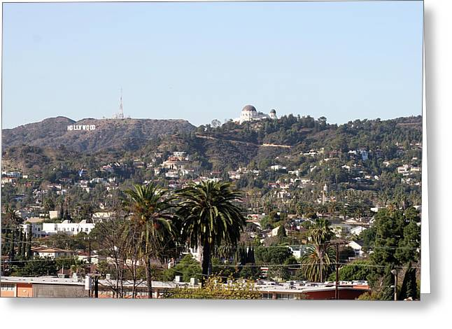 Hollywood Hills From Sunset Blvd Greeting Card