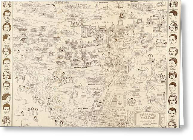 Hollywood Map To The Stars 1937 Greeting Card by Don Boggs