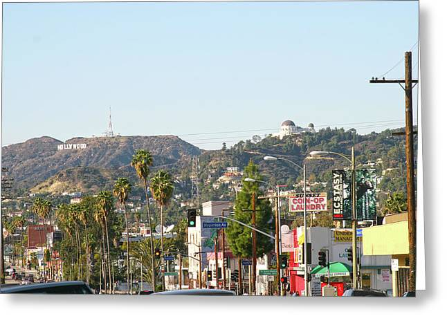 Hollywood Sign Above Sunset Blvd. Greeting Card