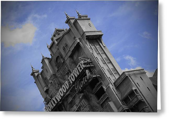 Black-and-white Pyrography Greeting Cards - Hollywood Studios Tower Of Terror Greeting Card by AK Photography
