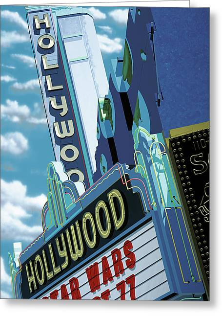 Tinsel Greeting Cards - Hollywood Theater Greeting Card by Anthony Ross