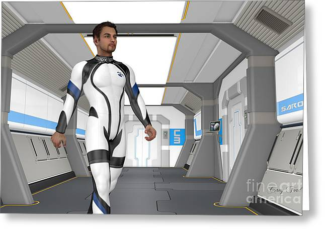 Holodeck Corridor Greeting Card by Corey Ford