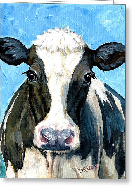 Holstein Cow 1 Head And Chest Greeting Card by Dottie Dracos