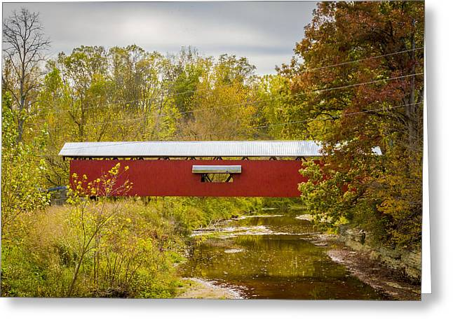 Holton/otter Creek Covered Bridge Greeting Card by Jack R Perry
