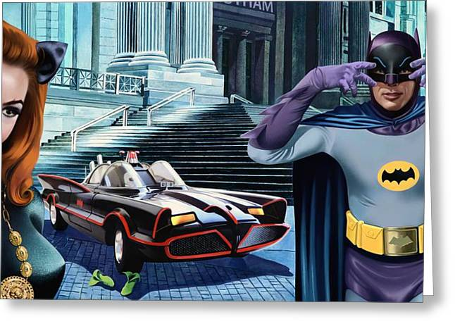 Holy Catastrophe - Julie Newmar And Adam West - 1966 Greeting Card by Jo King