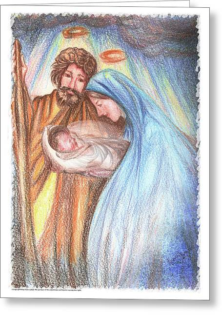 Holy Family - Christian - Catholic Painting Greeting Card by Remy Francis