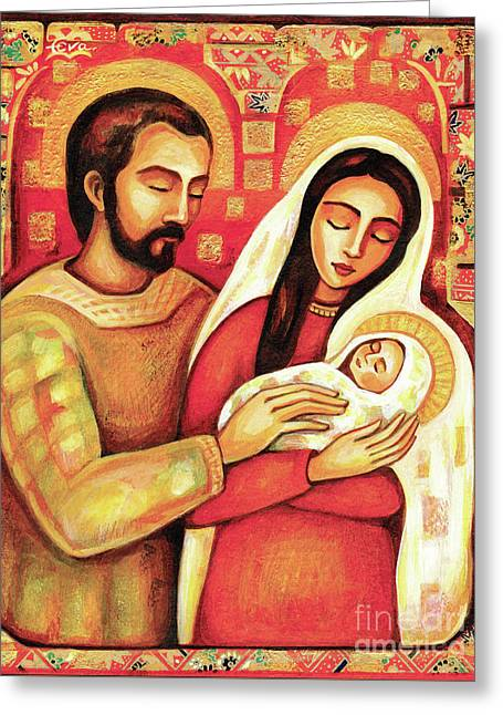 Greeting Card featuring the painting Holy Family by Eva Campbell