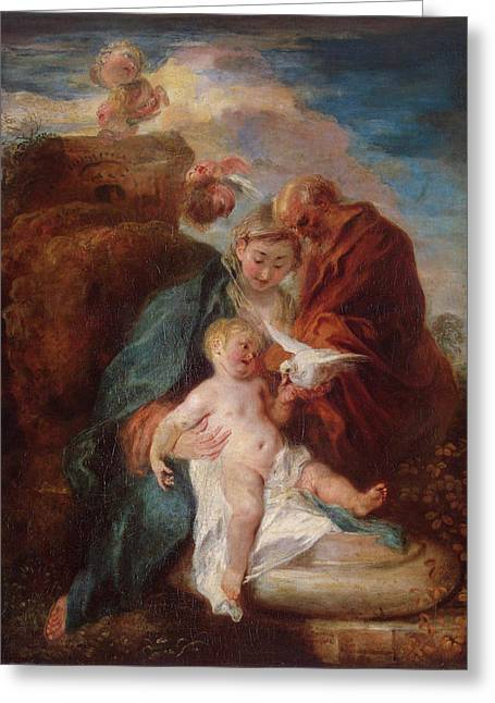 Holy Family, Rest On The Flight Into Egypt Greeting Card by Jean-Antoine Watteau