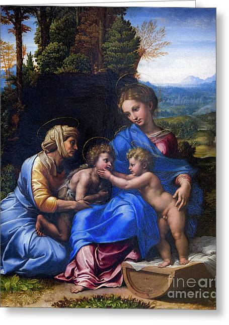 Holy Family With John The Baptist As A Boy And Saint Elizabeth,  Greeting Card by Peter Barritt