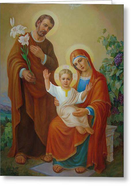 Holy Family With The Vine Tree Greeting Card by Svitozar Nenyuk