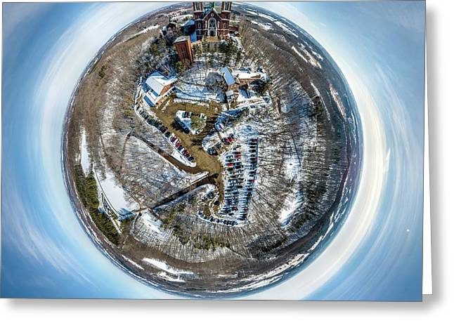 Greeting Card featuring the photograph Holy Hill Little Planet by Randy Scherkenbach