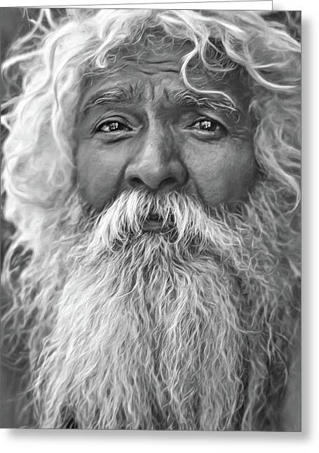 Holy Man - Such A Long Journey - Paint Bw Greeting Card by Steve Harrington