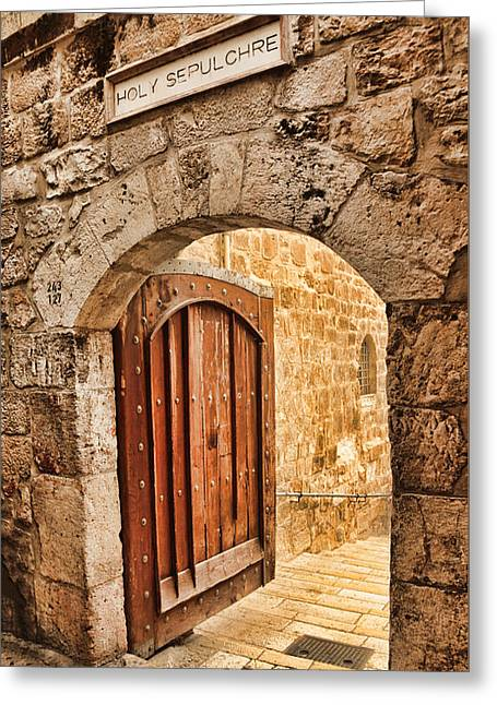 Holy Sepulchre Entrance Greeting Card by Stephen Stookey