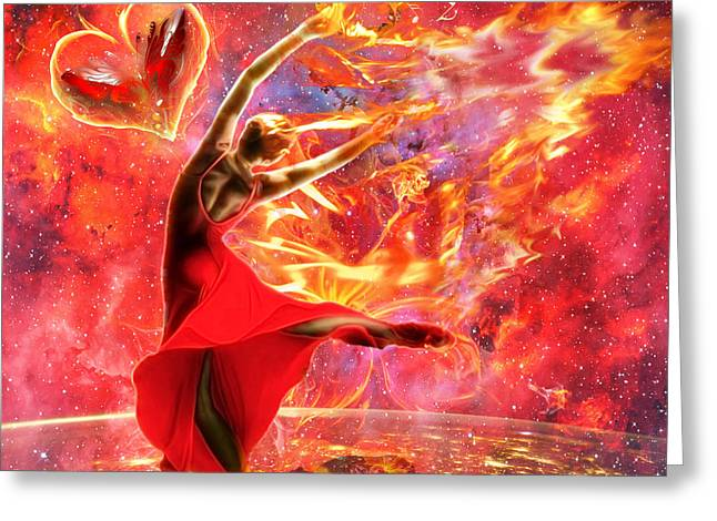 Holy Spirit Fire Greeting Card by Dolores Develde