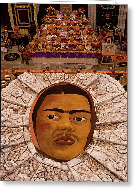 Homage To Frieda Kahlo - Altar And Sand Portrait Greeting Card by Mitch Spence