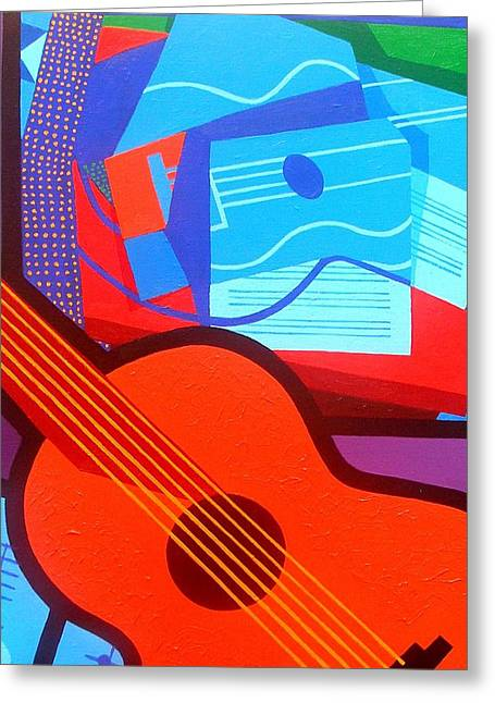 Orange Posters Greeting Cards - Homage To Juan Gris Greeting Card by John  Nolan