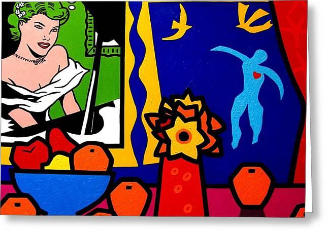 Homage To Lichtenstein And Matisse Greeting Card by John  Nolan