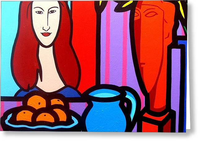Jugs Greeting Cards - Homage To Modigliani II Greeting Card by John  Nolan