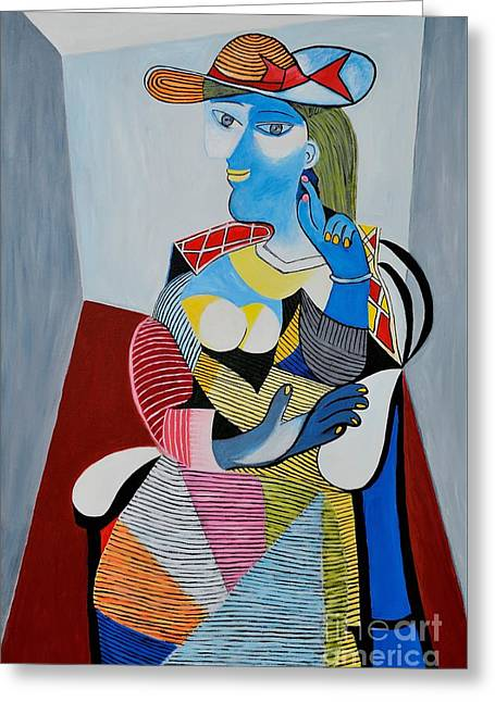 Homage To Pablo Picasso Greeting Card by Art by Danielle