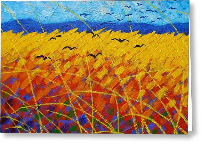Canvas Crows Greeting Cards - Homage To Vincent Greeting Card by John  Nolan