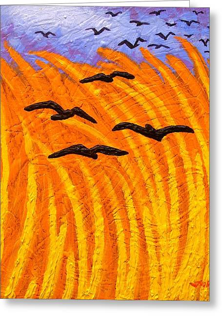 Crows Greeting Cards Greeting Cards - Homage to Vincent Van Gogh Greeting Card by John  Nolan